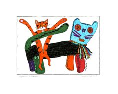 Cat Art Folk Artwork Print Orange Cat with Mayan Cat - Milandro by AmyBlueKat, $10.00