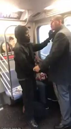 Man punches woman after 'manspreading' on NYC subway | Daily Mail Online