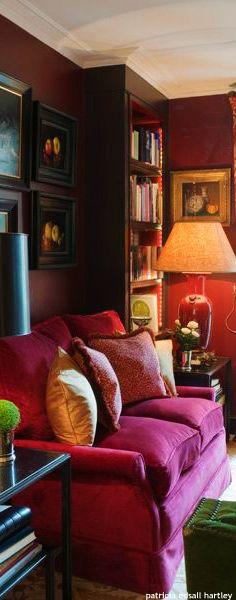 . Velvet Room, Purple Home Decor, Sofa, Couch, Bold Colors, Fabrics, Passion, Homes, Interiors