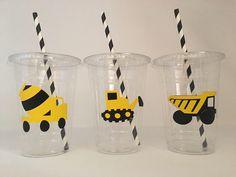Construction party cups, Construction birthday party, Tool Party by DivineGlitters on Etsy https://www.etsy.com/listing/267528471/construction-party-cups-construction