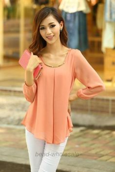 Korean-Fashion-Womens-Loose-Chiffon-Tops-Long-Sleeve-Shirt-Casual-Blouse