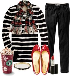 """""""More Red & Black Love"""" by kittywitty on Polyvore. So cute-black pants, striped shirt & red flats"""