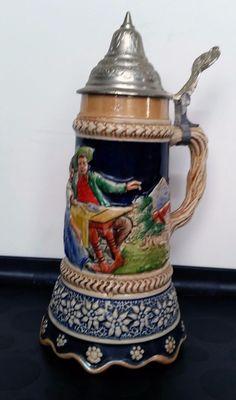 Vintage Beer Stein Lidded Decorated Music Box Auf Wiedersehen Working German