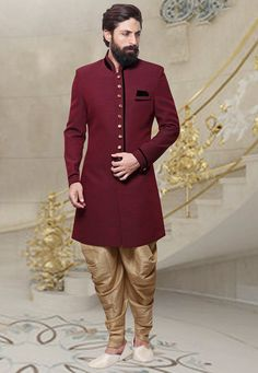 Buy Indo western garments for men from Indians Fashion's online celebration wear store. Buy stylish indo-western sherwani dresses, fusion wear, contemporary wear, designer Indo western outfits for men, Party Wear Indo-Western. Sherwani Groom, Mens Sherwani, Wedding Sherwani, Wedding Dresses Men Indian, Wedding Dress Men, Wedding Men, Wedding Outfits, Indian Dresses, Indian Groom Wear