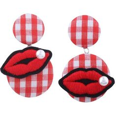 Red Faux Pearl Lips Embroidery Plaid Earrings (12 RON) ❤ liked on Polyvore featuring jewelry, earrings, lip earrings, fake pearl earrings, faux pearl jewelry, plaid jewelry and faux pearl earrings