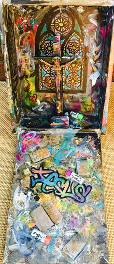 AVAILABLE Home Altar Nicho Collage Art Graffiti Mixed by Scalvage