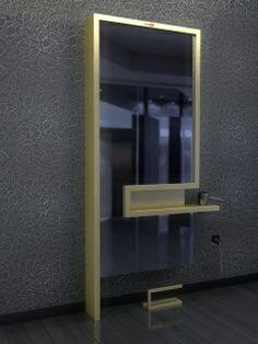 Specchiera con mensola in legno laminato color argento e portaphon integrato. Possibilità di rivestimento in skai