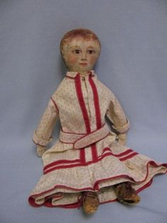 "15"" Antique FOLK ART c1875 Doll Sweet & Artistically HAND-PAINTED FACE"