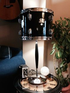 Repurposed drum table lamp with chrome and black base - Decoist
