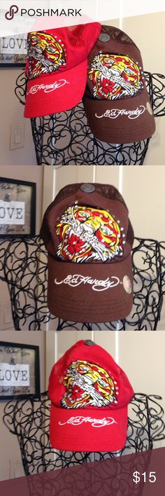 2 Ed Hardy SnapBack caps 2 Ed Hardy SnapBack caps worn once, in excellent condition.Red and brown.Top of red cap has chip in button as seen in pic 4, not noticeable when on. Ed Hardy Accessories Hats
