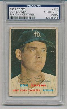 Don Larsen Signed Auto PSA DNA Vintage 1957 Topps Card 175 83289945 | eBay #donlarsen #larsen #signedcard #vintage #autograph