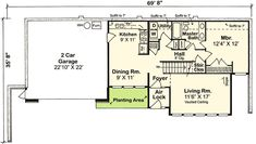 Contemporary Earth Sheltered s Retro House Plan 3 bed 2 bath floor plan. I would make some mods to the kitchen and walkway to a green roof garage but those are really the biggest changes I would want to do. Maybe arrange the shared main level bath. Country House Plans, Best House Plans, House Floor Plans, Underground House Plans, Underground Homes, Earthship Plans, Free Floor Plans, Earth Sheltered Homes, Shelter Design