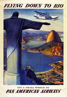 Vintage Flying Down To Rio Travel Airlines Poster