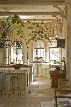 Love the large tree branch in the vase! Also, the bakers or butchers sign on the wall (bull).