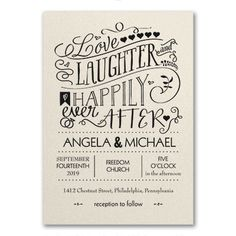 Invite guests to celebrate happily ever after with love and laughter! This ecru shimmer wedding invitation is printed in great typography in your choice of ink or foil.