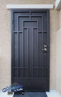 48 Best ideas for metal screen door ideas wrought iron Metal Screen Doors, Front Door With Screen, Iron Front Door, Front Doors, Wrought Iron Security Doors, Steel Security Doors, Wrought Iron Doors, Security Screen Doors, Door Grill