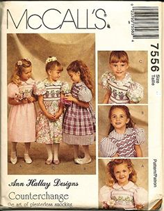 Counterchange, Pleaterless Smocking McCall's 7556 Fancy Little Girl's Dress (Size Sewing Pattern Ann Hallay Designs Girls Smocked Dresses, Little Girl Dresses, Cute Dresses, Little Girls, Smocking Patterns, Heirloom Sewing, Sewing Stores, Vintage Sewing Patterns, Flower Designs