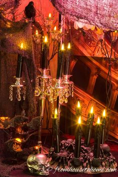 I love using candles and creepy cloth for my Halloween haunted house decor. Click through to find more easy DIY Halloween decorating ideas. Outdoor Halloween, Halloween Party Decor, Diy Halloween, Halloween 2019, Happy Halloween, Halloween Stuff, Halloween Halloween, Halloween Makeup, Halloween Tricks