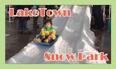 First Sleigh Ride at Snow Park in LakeTown Saitama - 初めてのそりすべり @レイクタウンス...