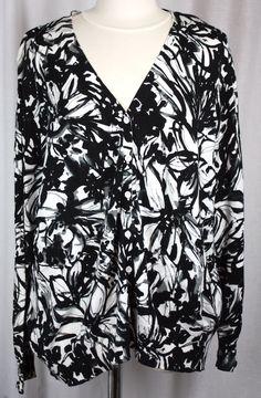 St. Johns Bay Womens V Neck Black Grey White Cardigan Sweater Plus Size 2X #StJohnsBay #Cardigan #Versatile