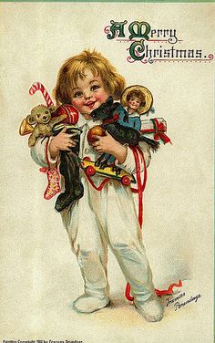 Vintage Christmas Postcard- child with toys