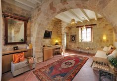"EXCLUSIVE SUITES BOUTIQUE HOTEL. MEDIEVAL TOWN, RHODES, GREECE. - ""Orhan"" suite. Living room. - Rhodes Hotel, Medieval Town, Home Recipes, Country Life, Old Town, Carpets, Modern Design, Greece, Fabrics"