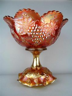 Many Fruits by Dugan Splendid Marigold Carnival Glass Punch Bowl Base My Glass, Amber Glass, Glass Art, Antique Dishes, Antique Glassware, Punch Bowl Set, Rainbow Glass, Cranberry Glass, Stained Glass Designs