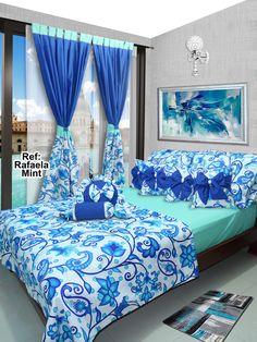 Ref: Rafaela Mint 💙  Disponible en cortinas, cojines, juegos de baño y sábanas en todas las medidas. #Rafaela #Dalotex #Lenceria #Hogar #Sabanas #moda #colors #SabanasDalotex #Azul #blue #Rose #Paisley #Women #Men #Mint #Flower Quilted Curtains, Creative Beds, Bed Cover Design, Polka Dot Bedding, Sewing Room Decor, Bedroom Decor For Couples, Colourful Living Room, Bedroom Images, Home Room Design