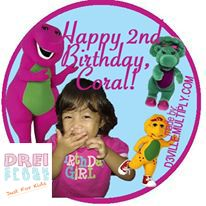 Drei Spark Plugs: Party Giveaways – Towel Lollipops with Personalized Thank You Photocard Barney Theme Custom-made design made exclusively b...