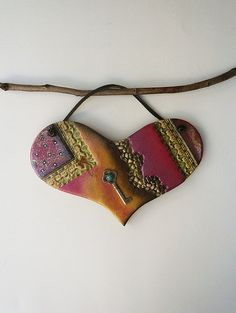 Steampunk Heart Wall Hanging Mixed Media Wide Heart by Ceramystica