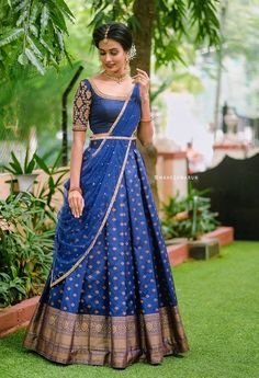 Half Saree Lehenga, Lehenga Gown, Saree Look, Half Saree Designs, Choli Designs, Lehenga Designs, Indian Bridal Hairstyles, Indian Bridal Outfits, Bride Reception Dresses