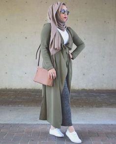 long olive cardigan neutral hijab- Hijab fashion guide 2016 http://www.justtrendygirls.com/hijab-fashion-guide-2016/