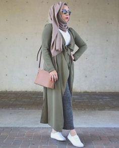 long olive cardigan neutral hijab- Hijab fashion guide 2016 http://www.justtrendygirls.com/hijab-fashion-guide-2016/