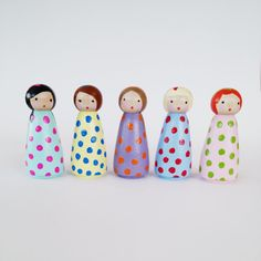 Keeping small hands busy and BIG imaginations running wild and free, this set of 5 cute peggies are ready for a slumber party! Dressed in their polka