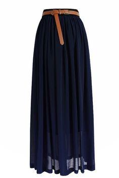Chiffon Maxi Skirt in Deep Blue