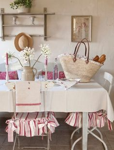 Love the ruffled/striped seat covers.  A must for my vintage cane back folding chairs.