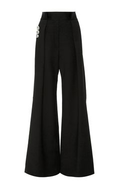 Rendered in wool suiting, this **Ellery** trouser features a high rise waist, oversized button details at the side, and a relaxed wide leg with splits at the back.