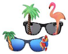 Novelty Sunglasses Tropical Palm Tree Flamingo Parrot Wayfarer Look Hawaiian