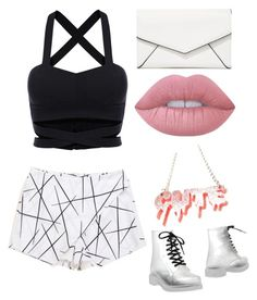 """Black and white."" by grace-annee ❤ liked on Polyvore featuring Colors Of California, LULUS, Lime Crime and printedshorts"