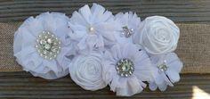 Burlap Bridal Sash-White Bridal Sash-Burlap Bridal Belt-White Bridal Belt-Vintage Bridal Sash-Rhinestone Bridal Sash-Burlap-Pearl
