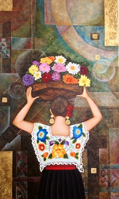 """Xochiquétzal """"Flor Hermosa,"""" painting by Leticia Morton Mexican Artwork, Mexican Paintings, Mexican Folk Art, Mexican Spanish, Mexican Tattoo, Latino Art, Mexican Textiles, Mexican Crafts, Brown Art"""