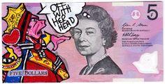 Mysterious artist doodles on Australian five dollar bills Queen Elizabeth Ii, Fantasy Art, Graffiti, Street Art, Mystery, Doodles, Artist, Banknote, Money
