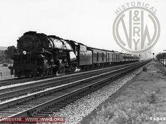 Class A #1200, Left 7/8 View  - B&W - W of Salem, VA (In passenger service - Shown w/boiler tube pilot) - Action!