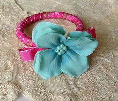 Ribbon wrapped bangle with silk flower embellishment by QuirkyCooperies on Etsy