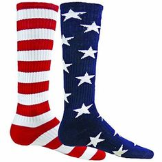 - 85% Nylon, 12% Polyester, 3% Spandex - Flat Knit - Heel & Toe Construction - A pair contains one of each sock design. To be worn as a mismatch - Available in Navy/White/Red Only - Made in the USA St