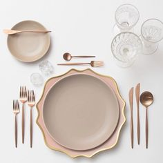 Putting together all kinds of prettiness for an out of state wedding next Spring Our Anna Weatherley Chargers in Desert Rose + Heath Ceramics in French Grey + Rose Gold Flatware + Early American Pressed Glass/Coupe Trios + Antique Crystal Salt Cellars #cdpdesignpresentation