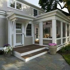 Traditional Porch design by Minneapolis Design-build TreHus Architects+Interior Designers+Builders So many home sellers believe th. Screened Porch Designs, Screened In Porch, Porch Roof, Porch Stairs, Front Porches, Back Porch Designs, Porch Tile, Porch Railings, Front Stoop