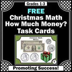 FREE Counting Money Task Cards, Christmas Math Activities or Grade Counting Money Games, 3rd Grade Fractions, Math Fractions, Special Education Math, Christmas Math, Christmas Activities, Math Task Cards, Math Lesson Plans, Free Math