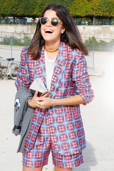 Leandra Medine  Put a quirky spin on traditional collegiate style with an ensemble of playful checkers.
