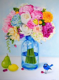 CUSTOM Bold, Bright, Beautiful Floral... Original OIL Painting by LARA - 18x24 Still Life #bright #colors #mason #jar